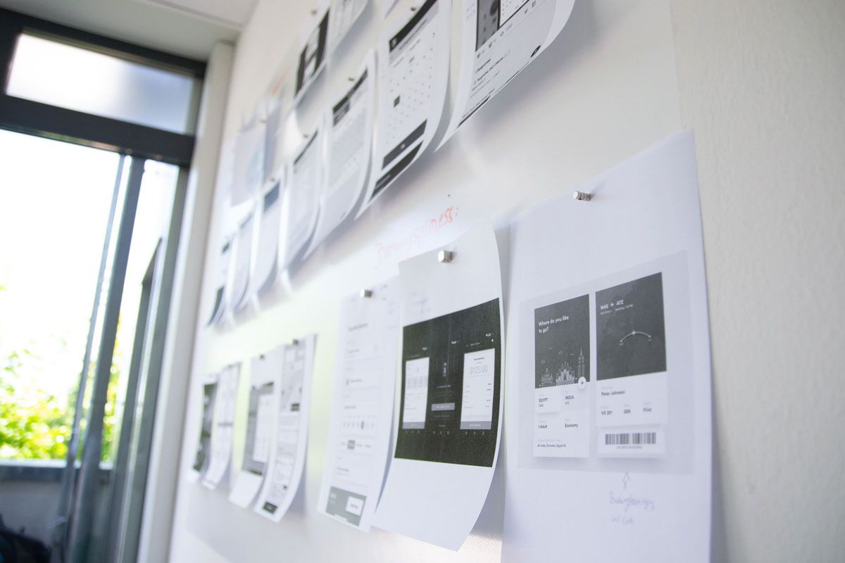 Printed Wireframes On Wall
